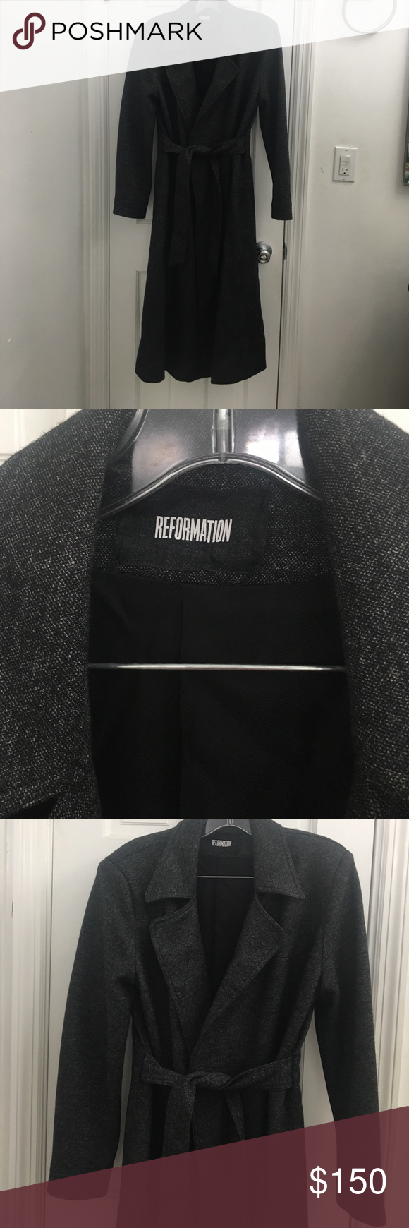 NWOT *REPOSH* Reformation grey trench coat I'm reselling this gorgeous coat because it is just too long for me. I'm 5'5. Brand new never worn, comes with garment bag.  Shoulder to shoulder 15 inches, length from shoulder to hem 43.5 inches Reformation Jackets & Coats Trench Coats