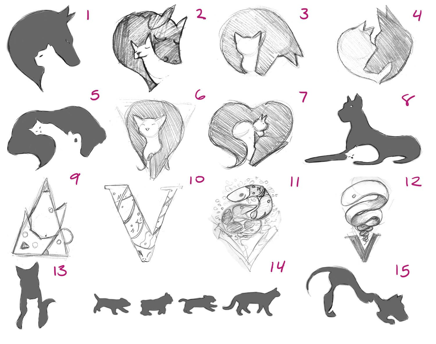 Once Upon An Artist Emergency Vet Service Mural Sketches Vet Tech Tattoo Cat And Dog Tattoo Sketches
