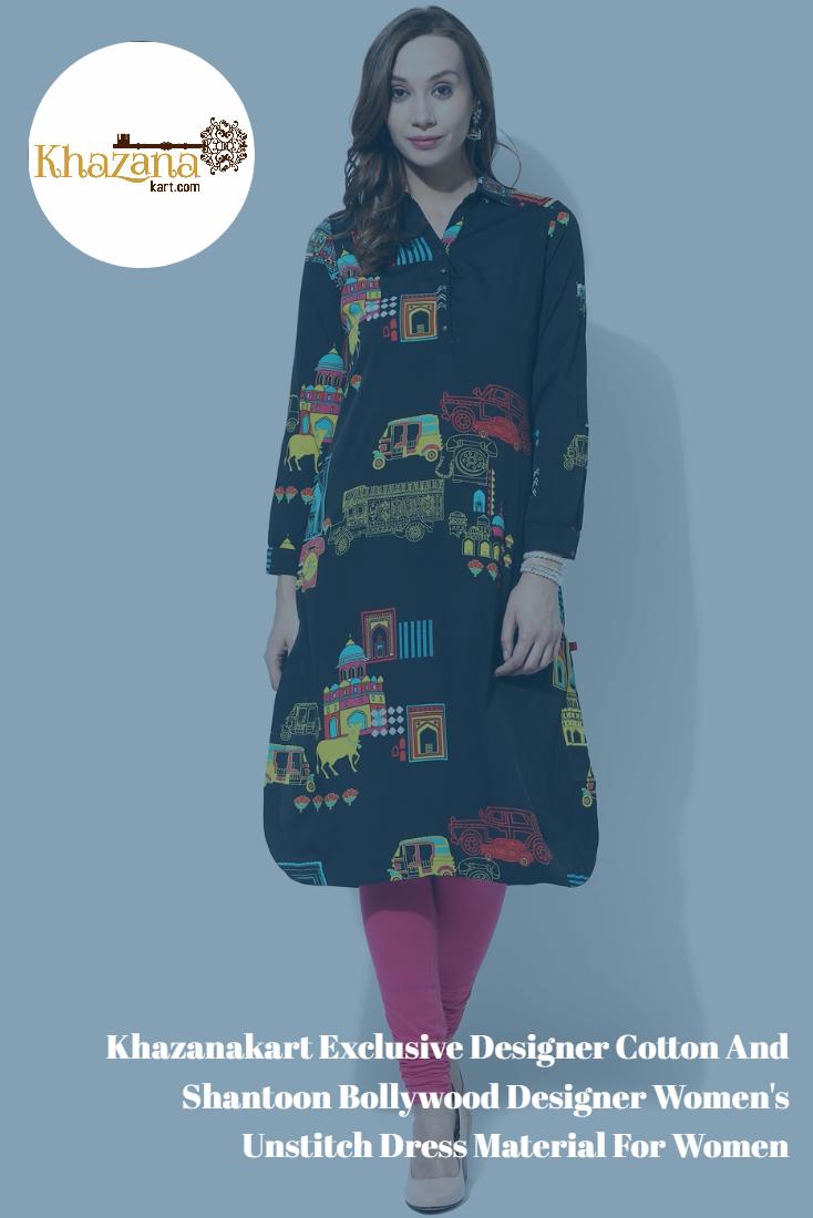 688e1cc713 Khazanakart Exclusive Designer Cotton And Shantoon Bollywood Designer  Women s Unstitch Dress Material For Women