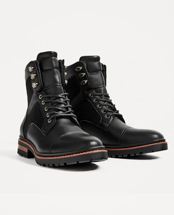 Black Worker Boots from ZARA Worker Boots 93e9301446e
