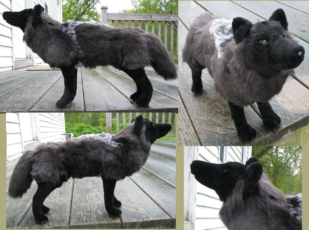 Realistic Black Wolf Plush Toy By Jarahamee Deviantart Com On