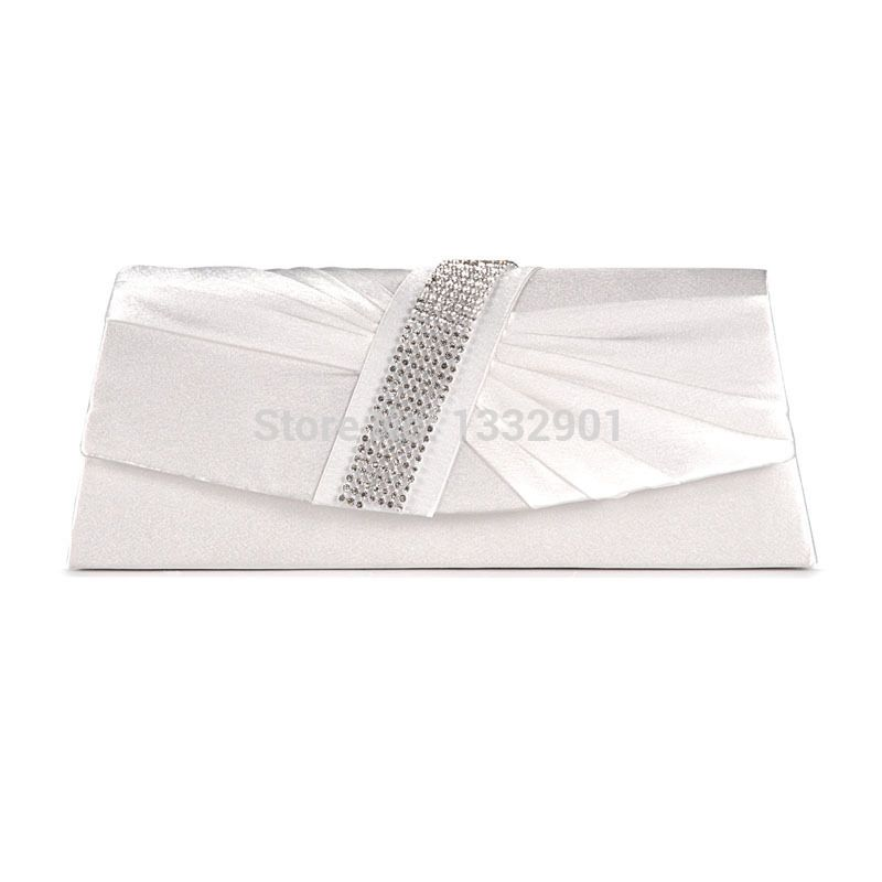 SATIN DIAMANTE PLEATED CLUTCH EVENING BAG WEDDING PROM PARTY BRIDAL