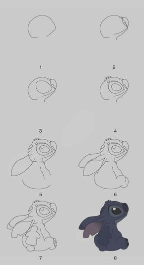 Stitch Step By Step Drawing : stitch, drawing, Drawings, Practice, Bored, Stitch, Drawing,, Drawings,, Disney