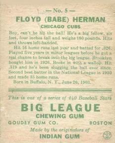 1933 Goudey #5 Babe Herman Back