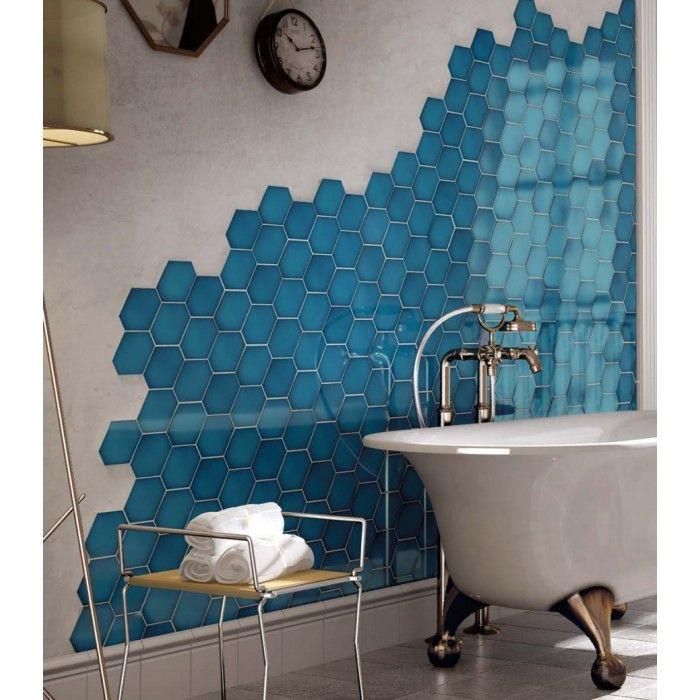 Carrelage mural faïence Scale Benzene (10 couleurs), hexagone déformé 12,4x10,8cm en 2020 ...