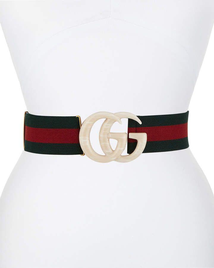 54345ba9f Gucci Elastic Web Belt w/ Piccadilly Moon Plexiglass Double-G Buckle ...