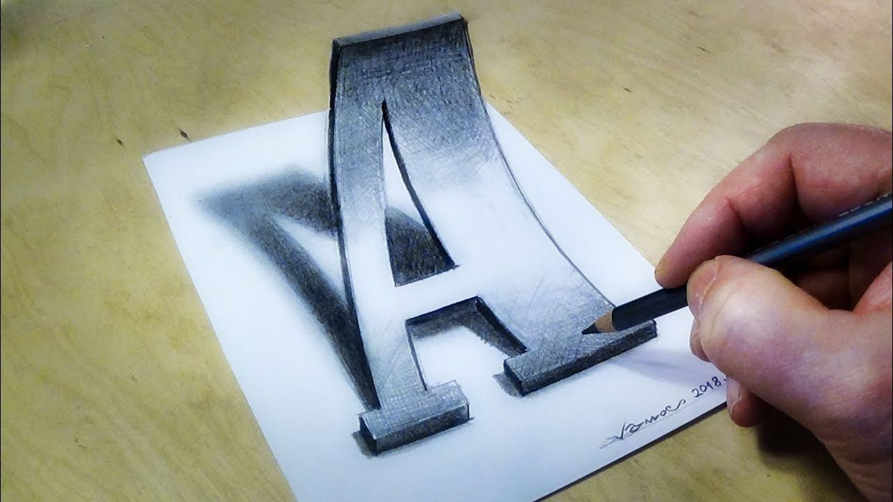 Only One Pencil How To Draw 3d Letter A In Western Style Font 3d Drawings 3d Art Drawing 3d Pencil Drawings