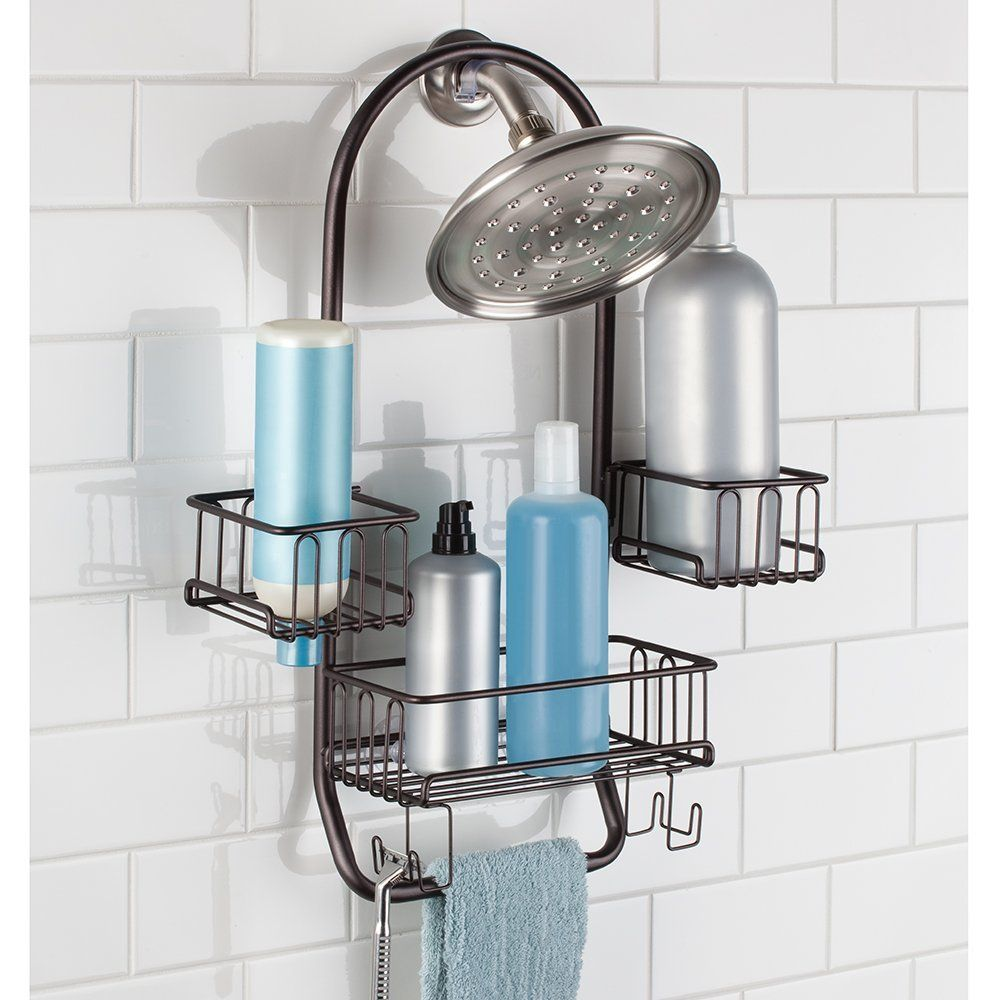 MetroDécor mDesign Swing Bathroom Shower Caddy for Tall Shampoo and ...