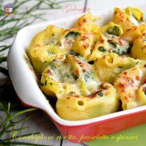 Conchiglioni ricotta, prosciutto e spinaci-ricetta primi-golosofia