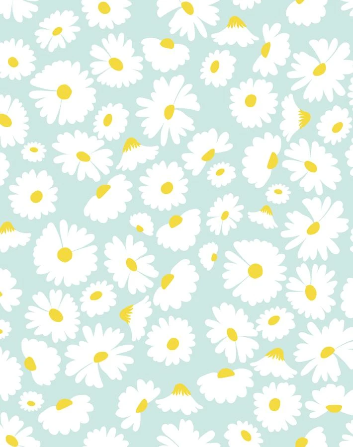 'Pop Daisy' Wallpaper by Wallshoppe - Seafoam