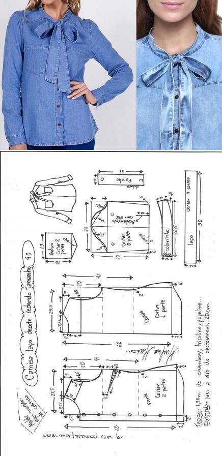 Camisa com laço, decote redondo – DIY – molde, corte e costura ...
