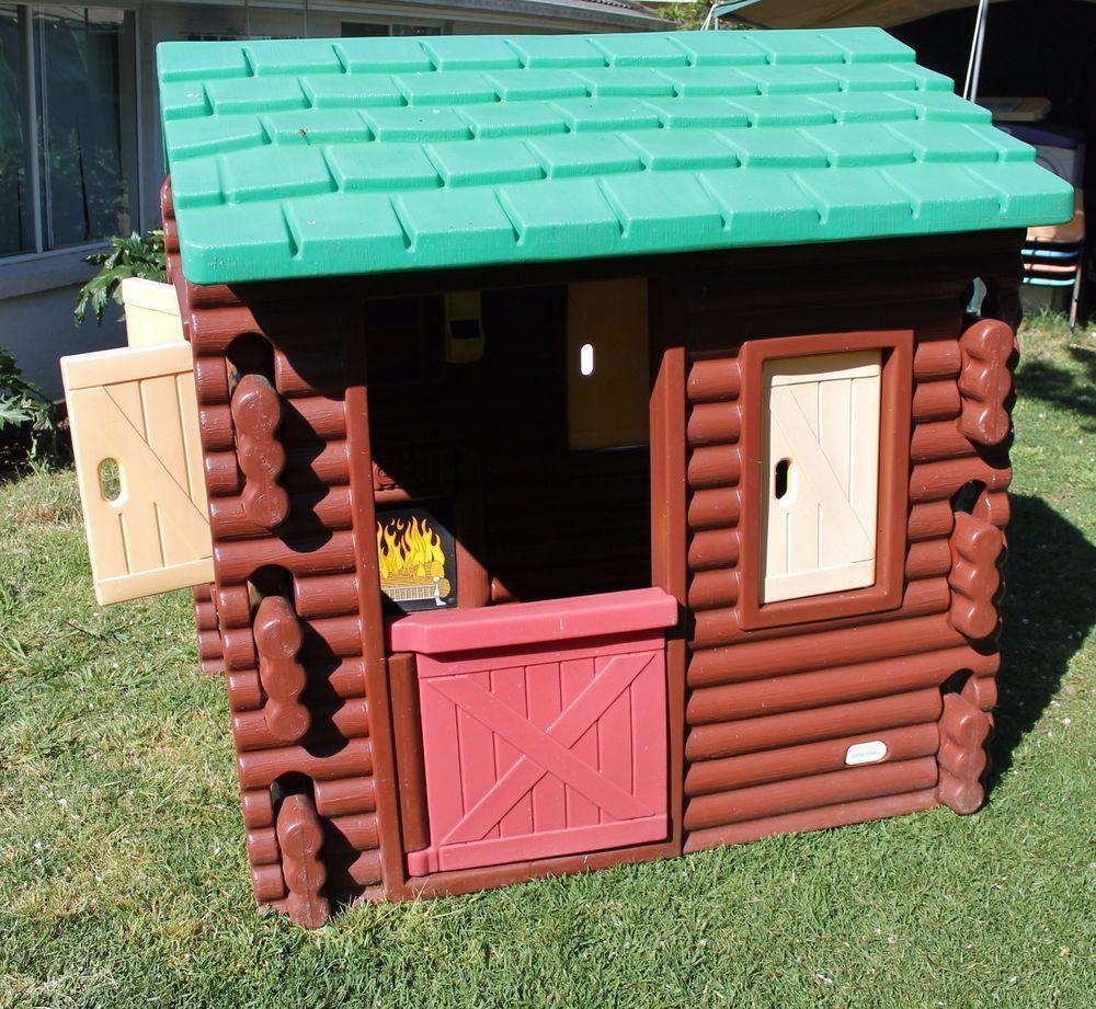 VINTAGE LITTLE TIKES LOG CABIN CUBBY HOUSE KIDS BROWN