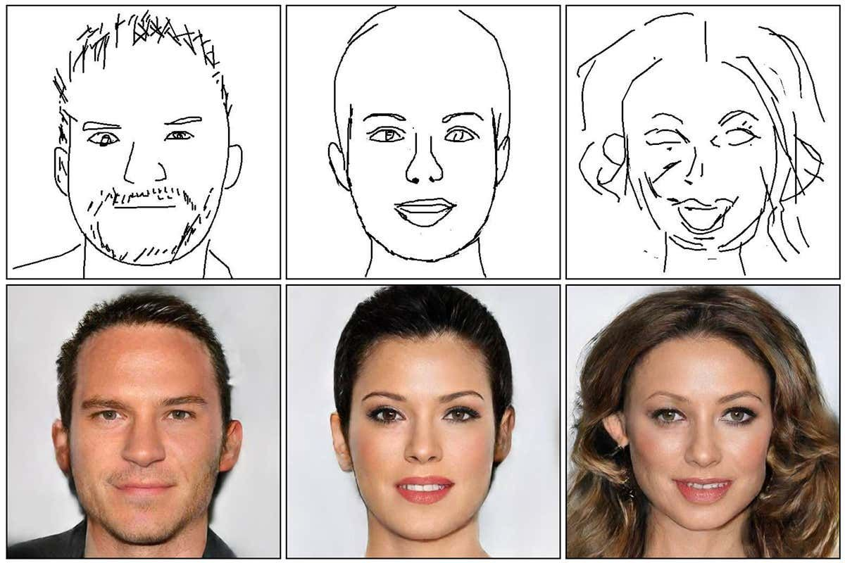 An algorithm that can turn line sketches of people's faces