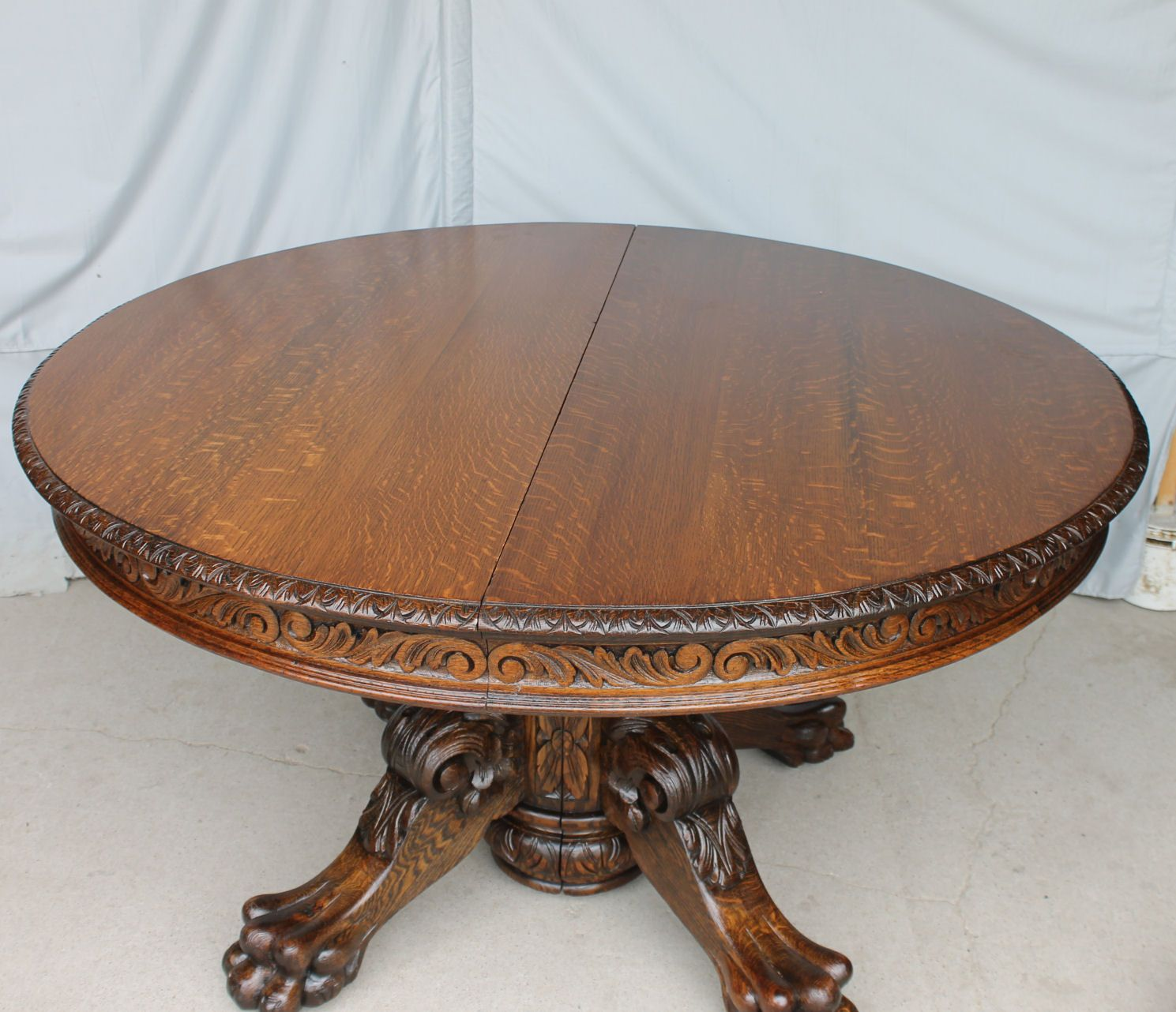 Antique Round Victorian Carved Oak Dining Table 54 Inches