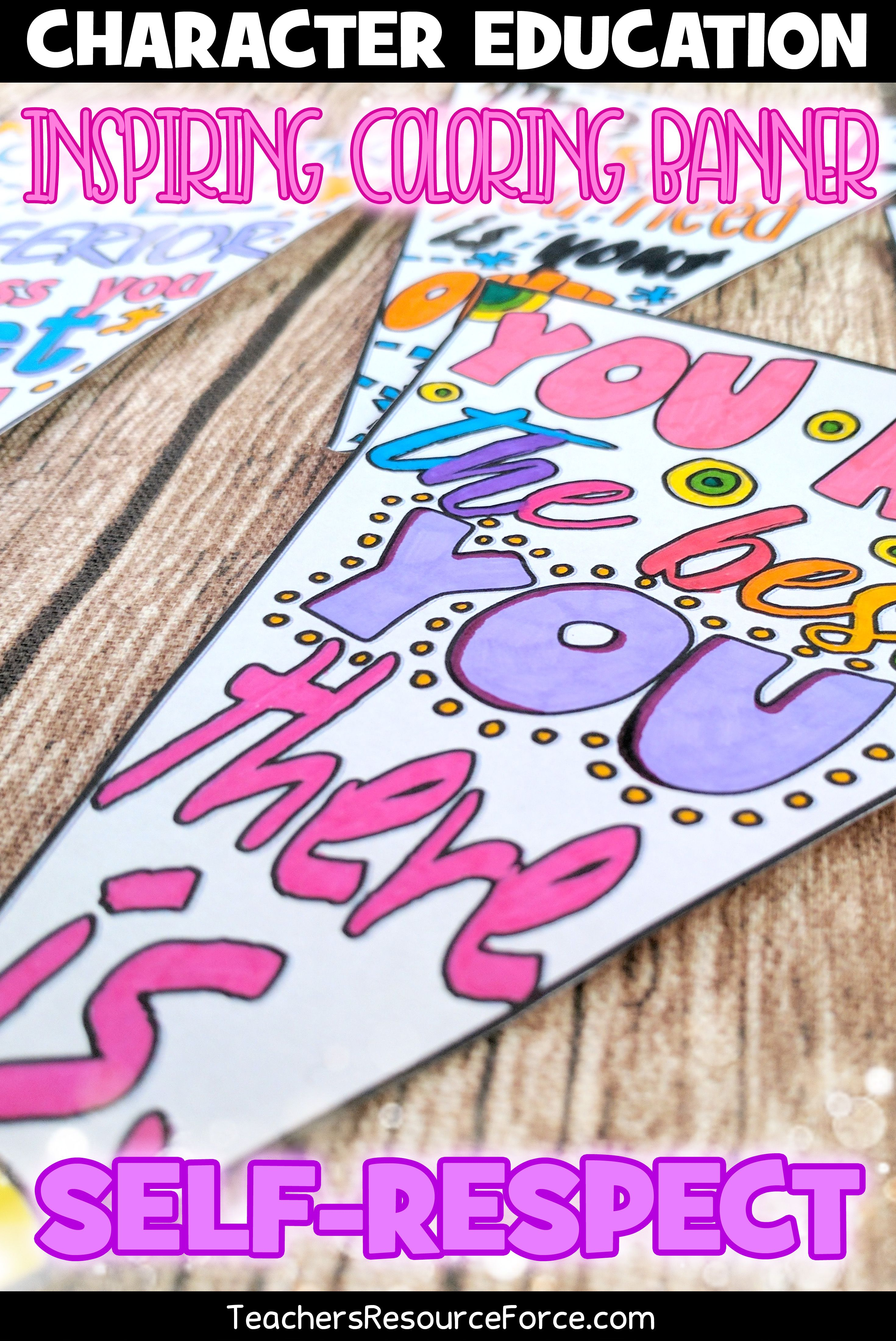 Self Esteem Coloring Sheets Pages Banners Pennants Of