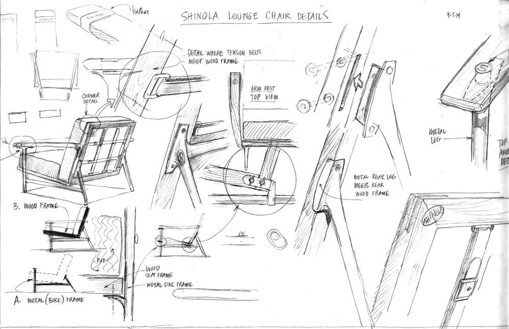 Quick sketch of details for proposed line of furniture