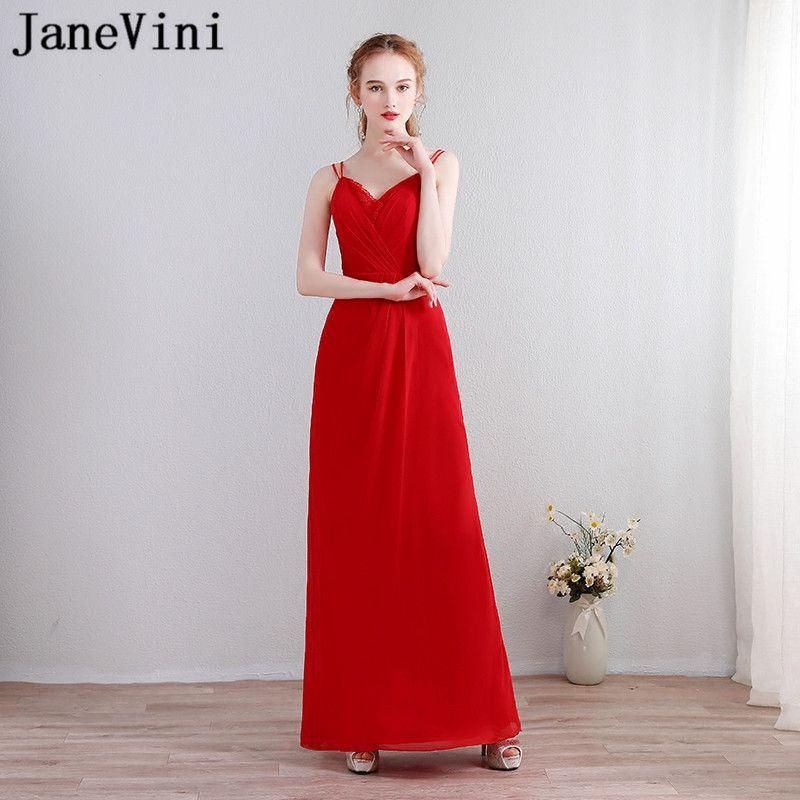 5d646cf2573bc JaneVini Kleid Chiffon Simple Red Bridesmaid Dress 2018 Long Wedding ...