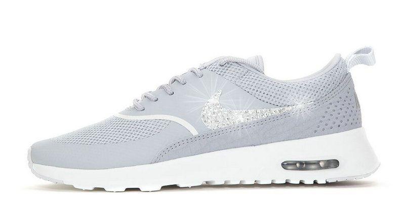 2018 Original 2018 glitter kicks Nike Air Max Thea Crystallized Swarovski  Swoosh Grey e9e579572814