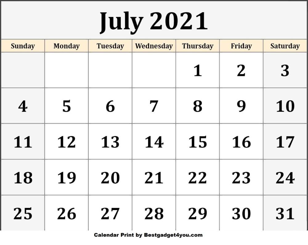 July 2021 | Blank calendar template, Calendar printables ...