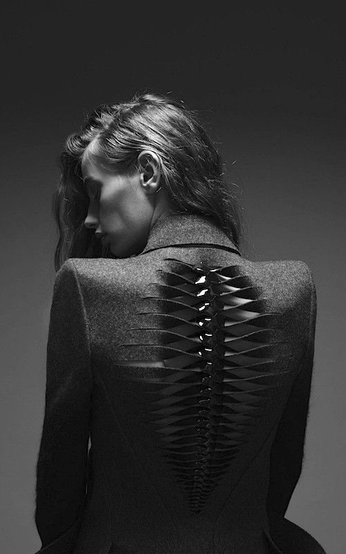 Skeletal jacket detail with artful cut & twist structure; creative fashion; fabric manipulation // Dion Lee