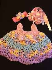 Crocheted Baby Set Outfit 3Pc Dress Headband Ballerina Slippers Pink/Blue/Lavend