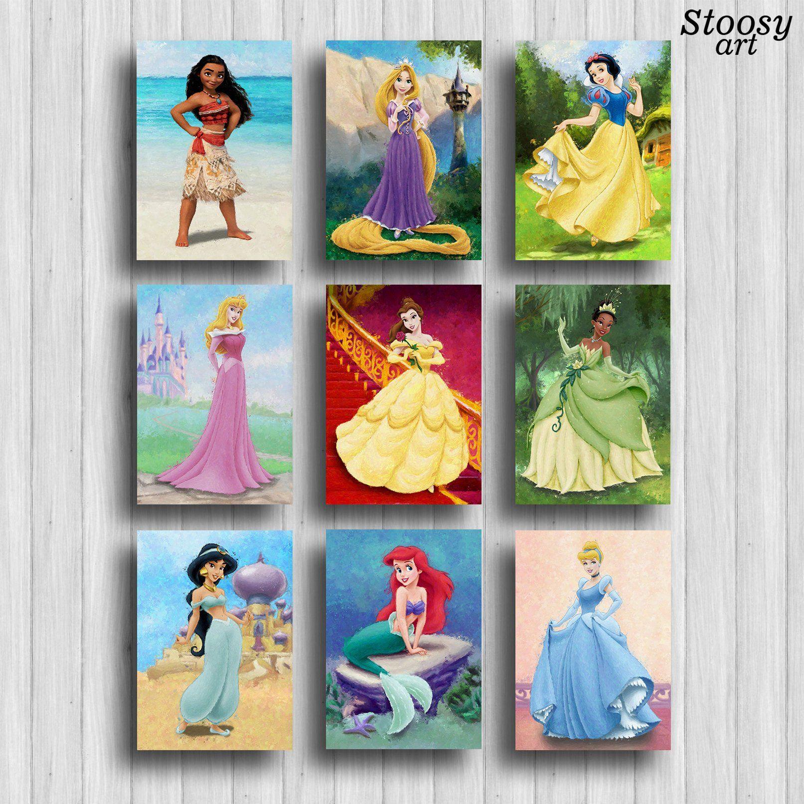 Disney Princess Posters Set Of 9 Princess Artwork Disney Wall