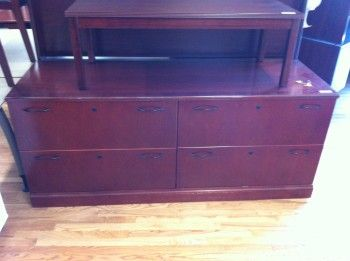 Used cherry 24 in deep x 72 in long double lateral file credenza  Wood veneer with dovetail drawers construction  Very good condition