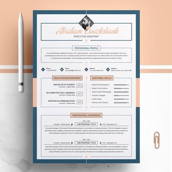 Resume Template / Creative Resume Template Professional Resume | Modern Resume | 3 Page Resume MS Word CV | Cover Letter | Instant Download