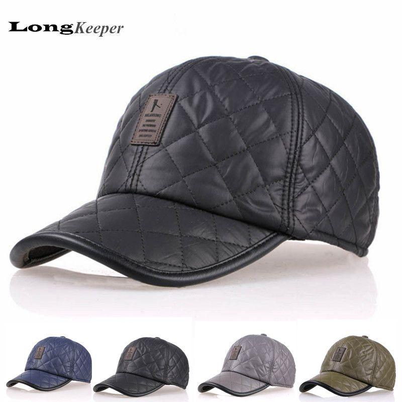 LongKeeper Winter Baseball Caps Leather Golf Cap Men Leisure Thickened Hats  With Ear Flap Gorras Black Gray Casquette Bone AA1 c67c1544a4b