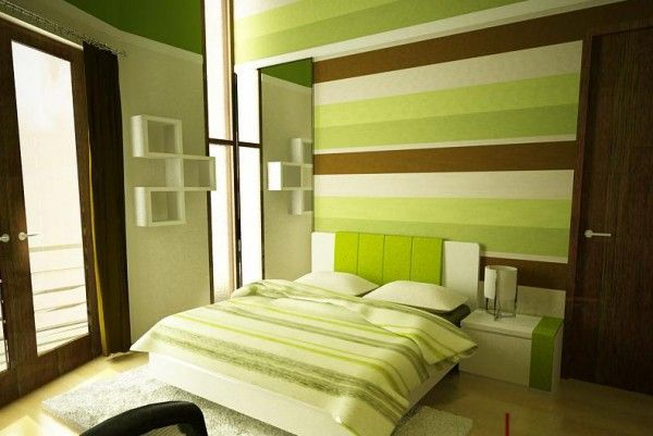 Baby Room - Green, Brown, White, Horizontal Stripes, Contemporary ...