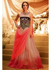 Alluring Golden & Blue Saree cum Gown