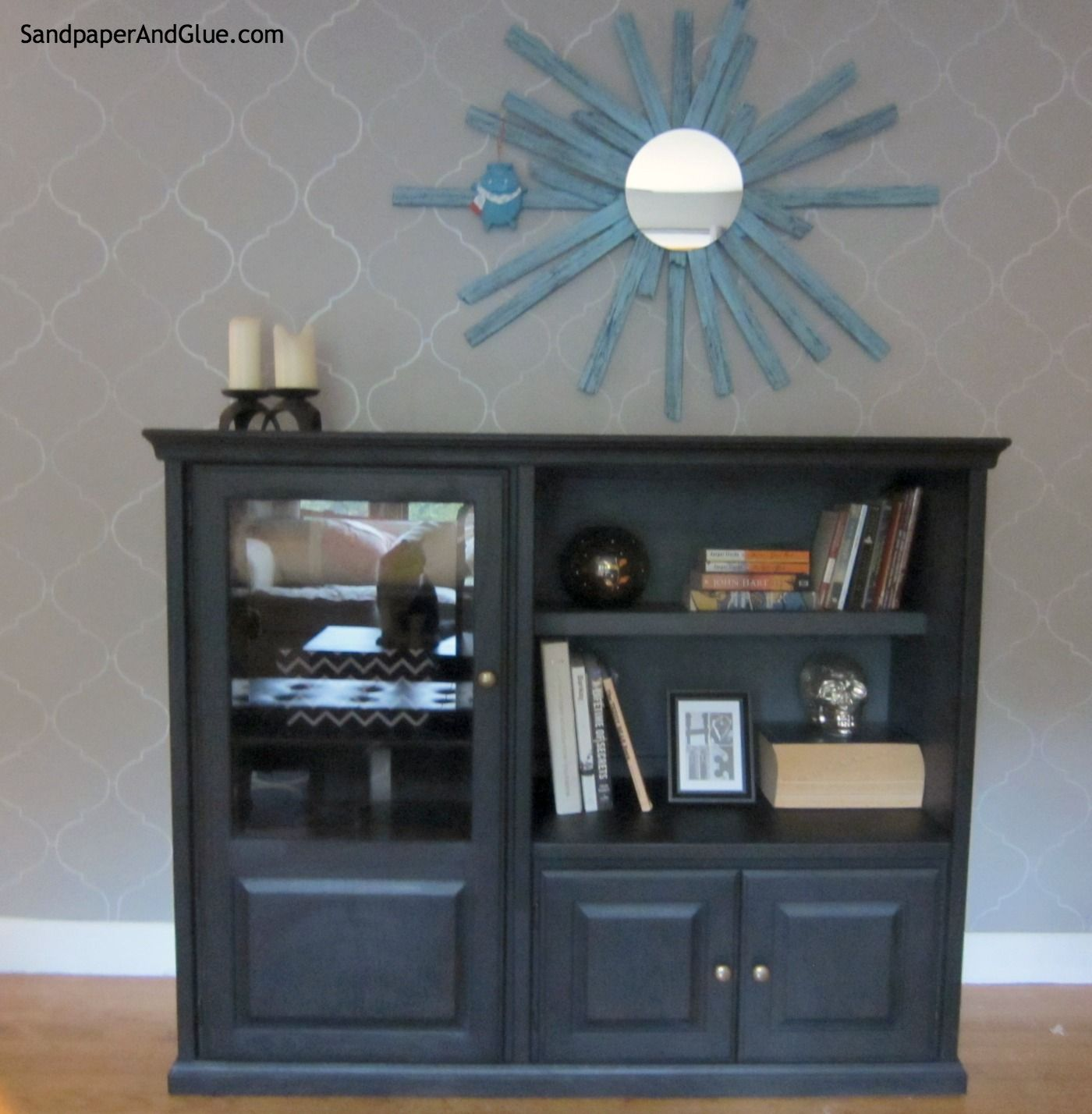 turn an old entertainment center into an update media cabinet by