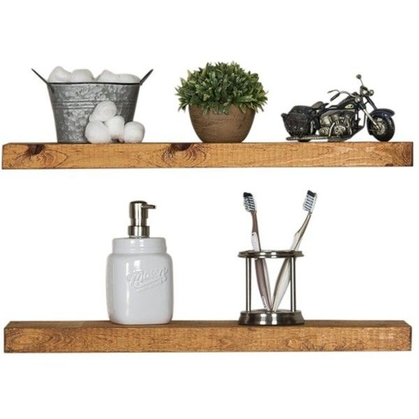 Del Hutson Designs Handmade 24 Inch Rustic Pine Floating Wall Shelves,.