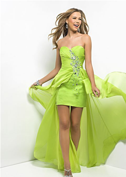 Lime Green Short Long Bridesmaid Dress maybe in a different color ...