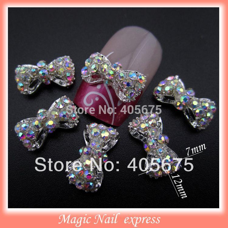 MNS220 3D 합금 AB 모조 다이아몬드 활 네일 아트 DIY 네일 보석 매력 장식 용품 bowknots 10 개