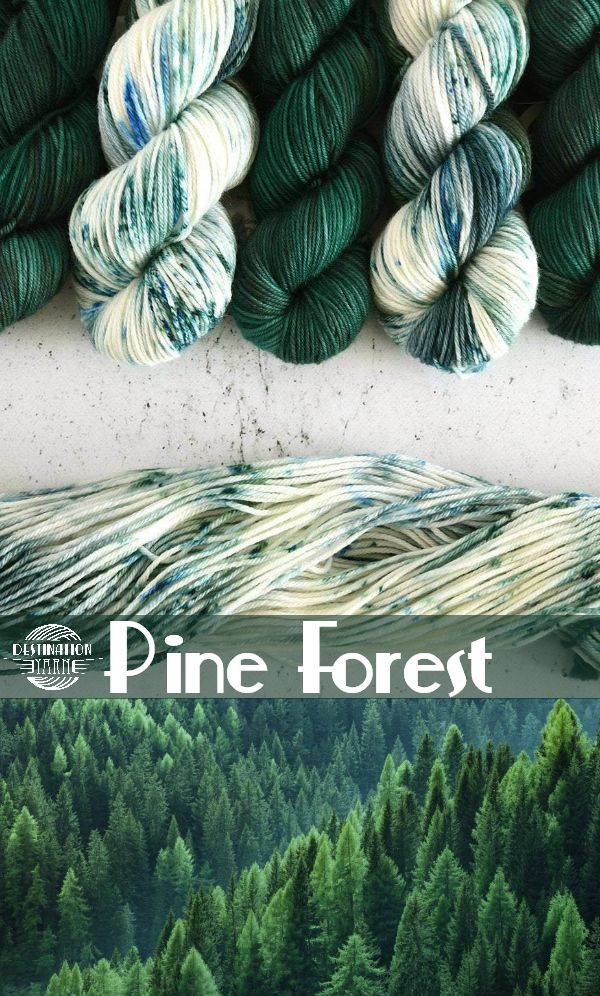Dotted amid the spectacular changing leaves the deep pine green of coniferous trees stands out. Kettle dyed, worsted weight yarn perfect for cozy knitting, crochet, and DIY craft projects! #yarn #knitting #crochet #crafts