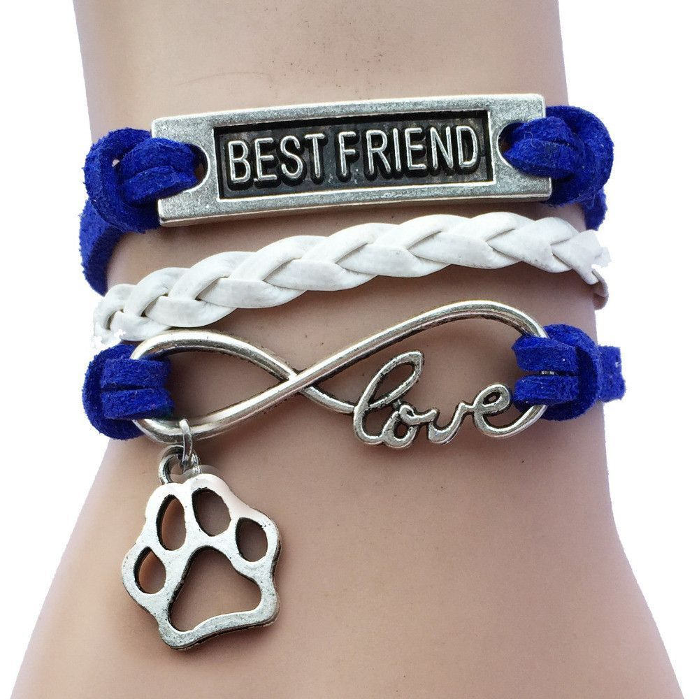 Genuine Leather Bracelet - Best Friend Forever - with Charm - Fashion Jewelry $39.95 - NOW $15.95 Genuine Leather Dog Bracelets - Very Cute. If you Love Dogs, then this Infinity Bracelet with Dog Paw