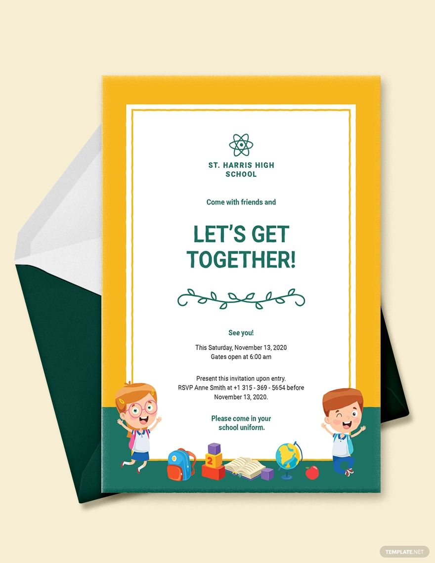 School Get Together Invitation Template Free Jpg Illustrator Word Apple Pages Psd Publisher Template Net Invitation Template Invitations School Template