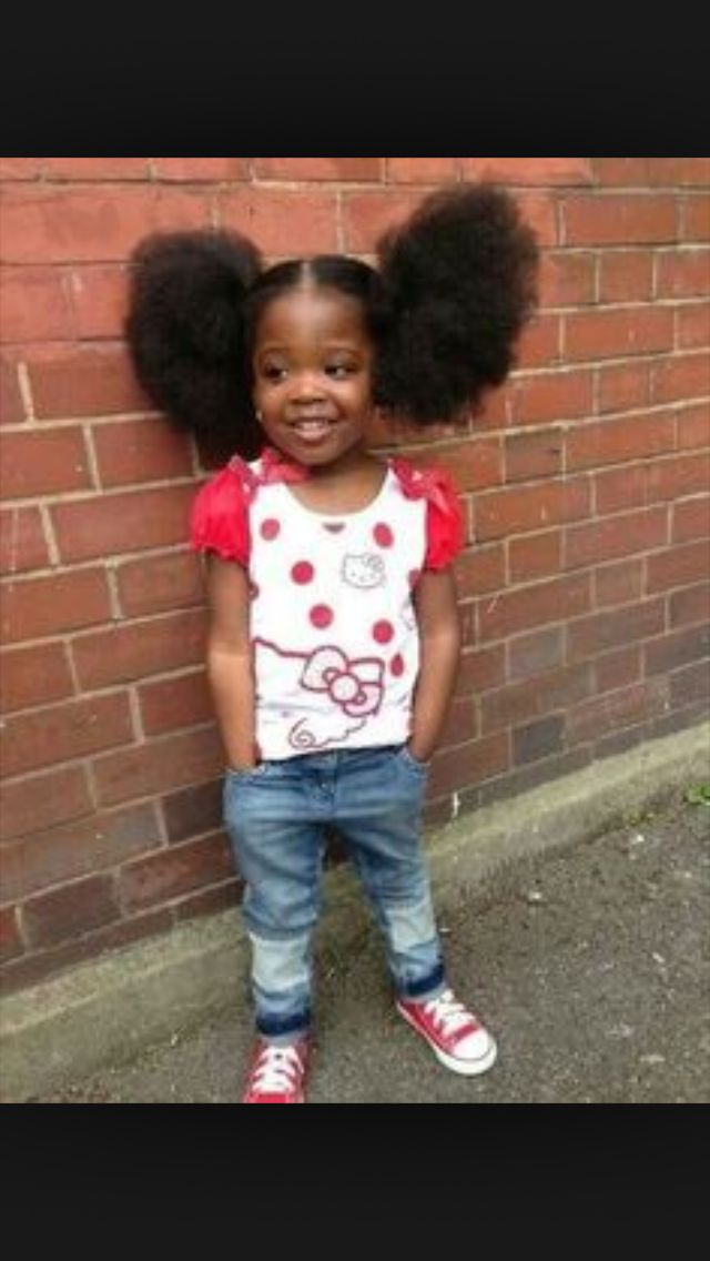 Little Girl With Pom Poms Beautiful Black Babies Natural Hair Styles Kids Hairstyles