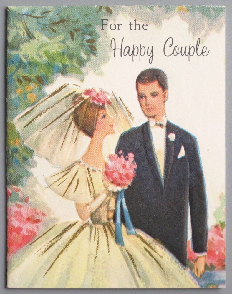 Vintage Greeting Small Gift Card Wedding Congratulations Bride