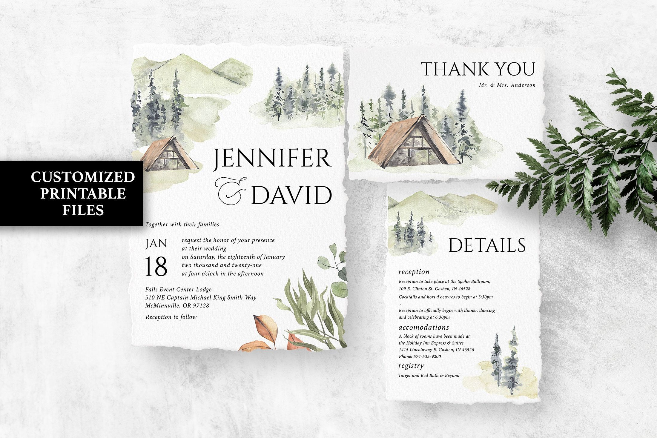 Forest Wedding Invitation Set Printable Rustic Wedding Invite Etsy Mountain Wedding Invitations Wedding Invitation Sets Outdoor Wedding Invitations