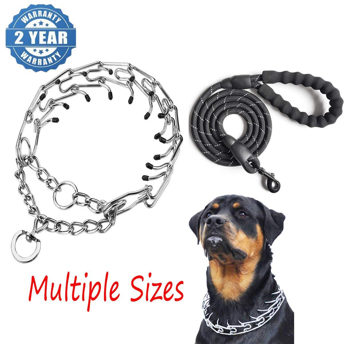 Bloomhua Dog Prong Training Collar Stainless Steel Adjustable Pinch Pet Choke Collar With Comf Prong Collar Aggressive Dog Training Collar