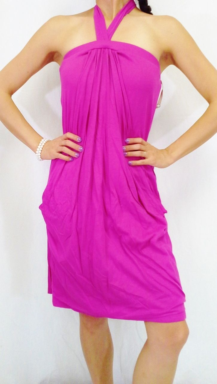 DRESSES. 100% COTTON Halter Dress/Coverup. Fuchsia/Hot Pink. - $5 Fashions