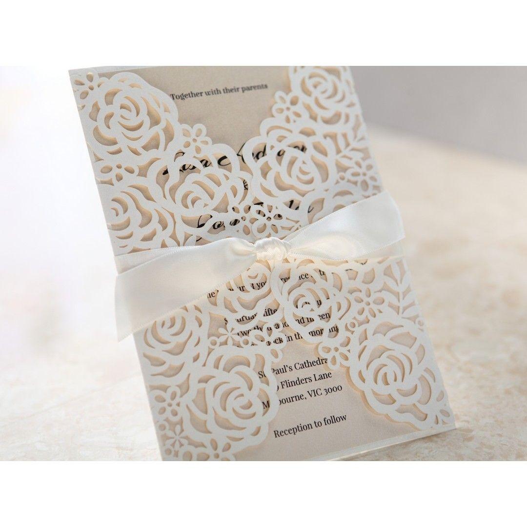 Rose Pattern Laser Cut Wedding Invitations Laser Cut Wedding - Laser cut wedding invitation templates