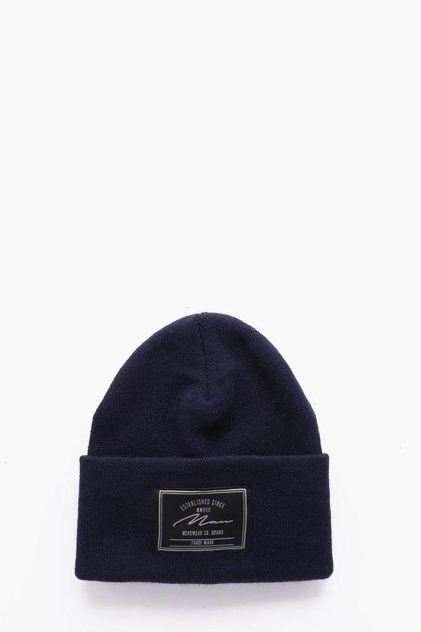 265187c3954 boohoo MAN Branded Turn Up Beanie Turn Up, Men's Hats, Hats For Men,