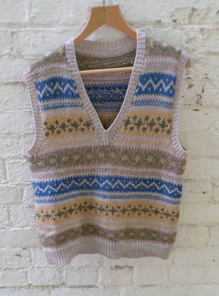 """STUNNING VINTAGE MENS 1940'S HAND KNITTED WOOL TANK TOP 40"""" FAIR ..."""