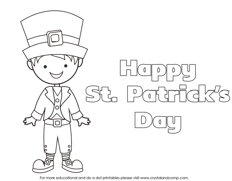 Kid Color Pages for St. Patrick\'s Day   Escuela