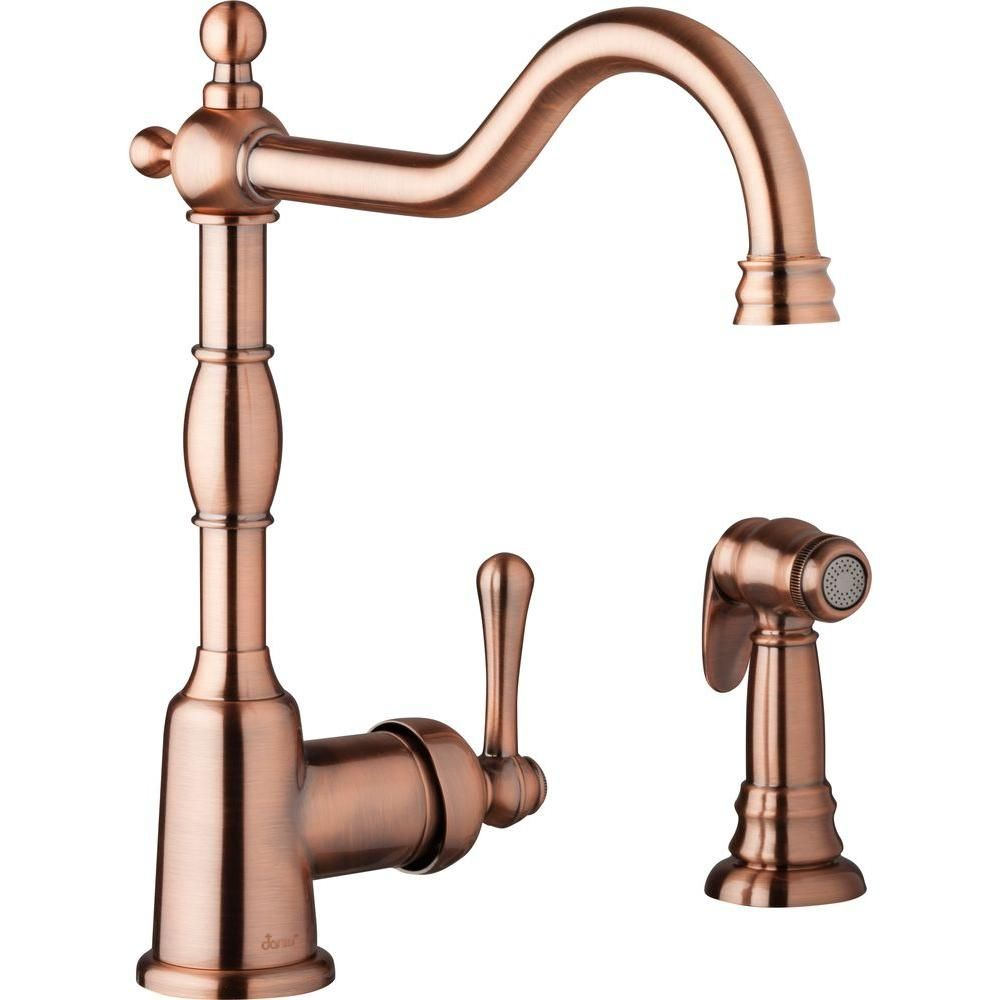 Danze Once Single Handle Standard Kitchen Faucet With Side Spray In Antique Copper