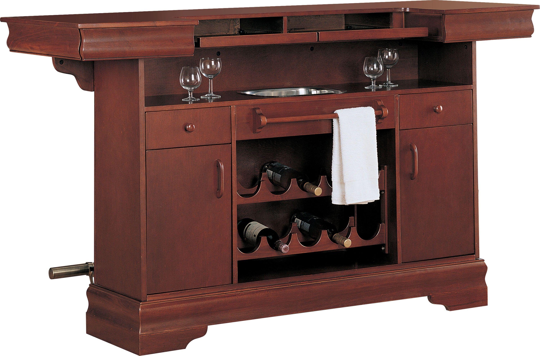 Lambert Cherry Bar Unit Home Bar Essentials Coaster Furniture Cherry Wood