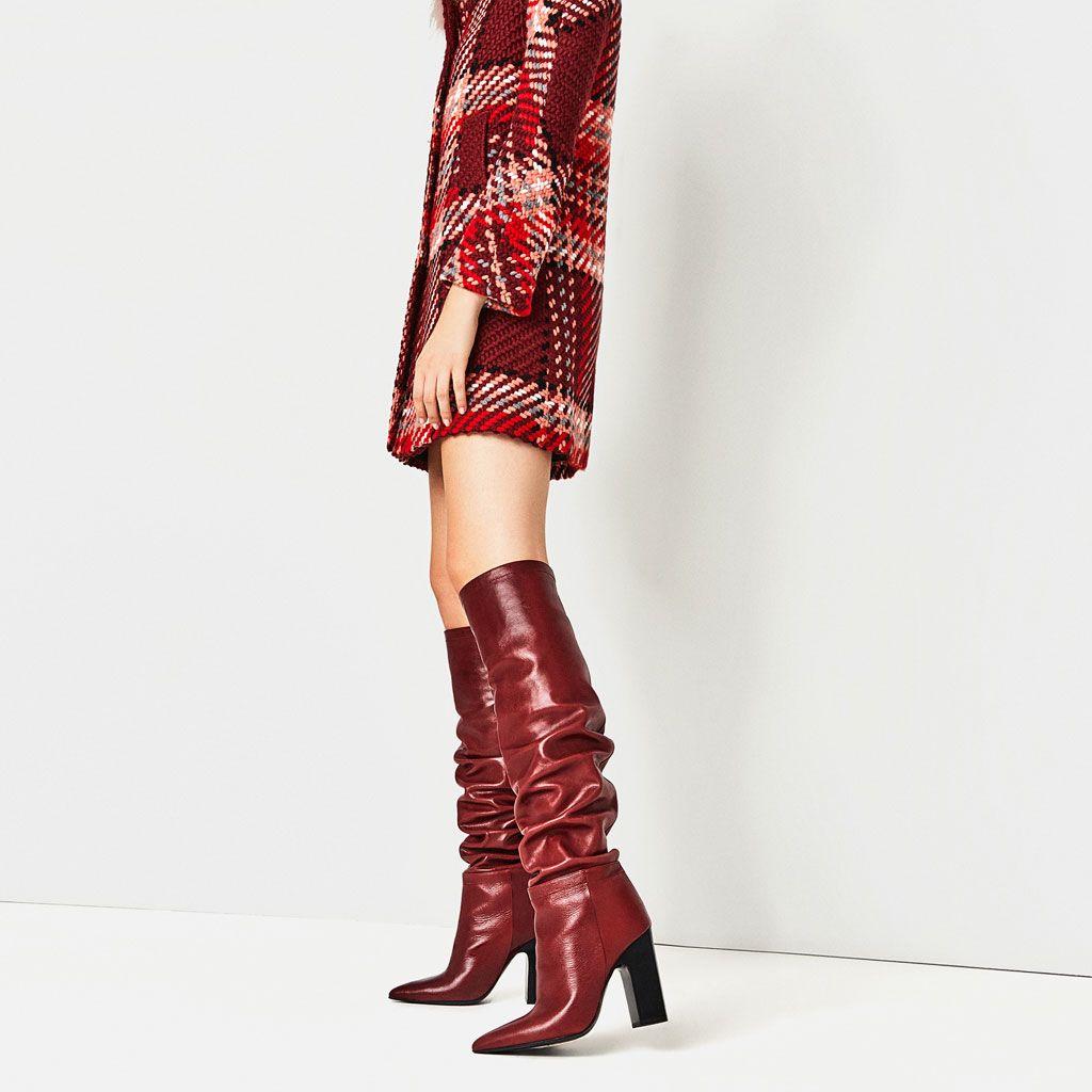 Bota Tacon Piel Cana Ancha Ver Todo Zapatos Mujer Zara Espana Leather High Heel Boots Boots High Heel Boots